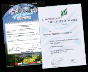 Urkunden für die Teilnahmen an den Akkordeon-Festivals